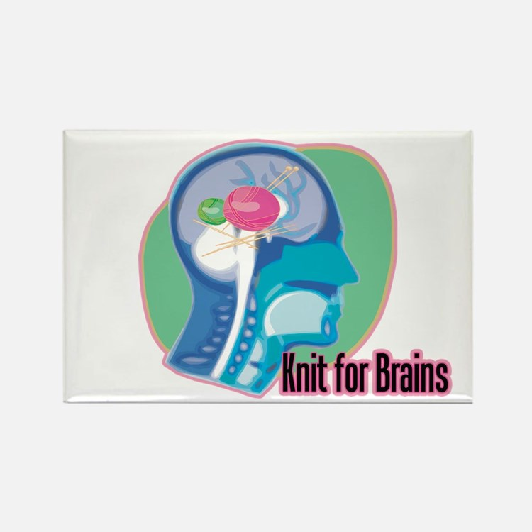 Knit for Brains Rectangle Magnet