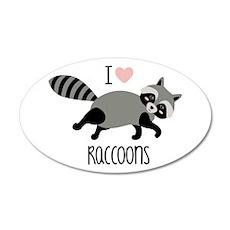 I Love Raccoons Wall Decal