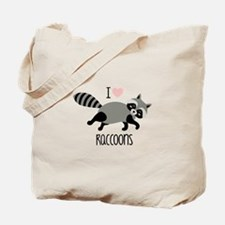 I Love Raccoons Tote Bag