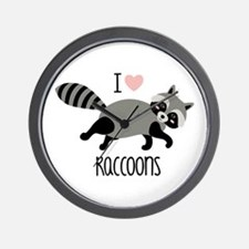 I Love Raccoons Wall Clock