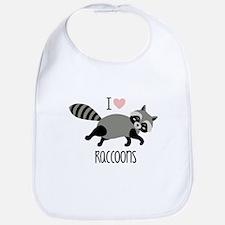 I Love Raccoons Bib