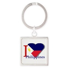 I love Philippines Square Keychain