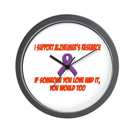 I support alzheimer's research Wall Clock