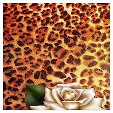 vintage rose cheetah print Poster