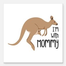 """Im With Mommy Square Car Magnet 3"""" x 3"""""""