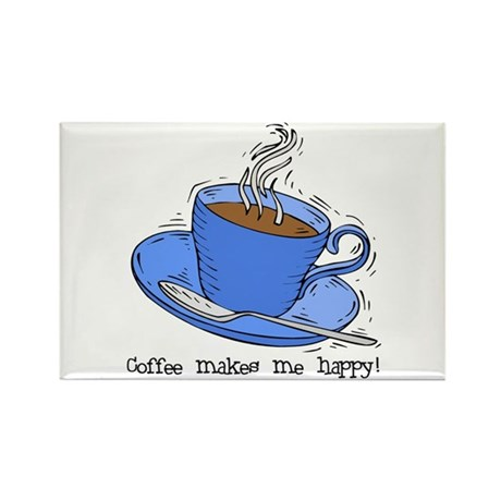 Happy Coffee Rectangle Magnet (10 pack)