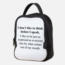 Think before I Speak Neoprene Lunch Bag