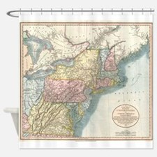 Vintage Map of New England (1821) Shower Curtain