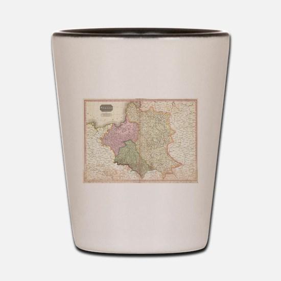 Vintage Map of Poland (1818) Shot Glass
