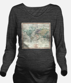 Vintage Map of The W Long Sleeve Maternity T-Shirt