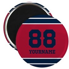 Red and Blue Mod Stripes Personalized Magnet