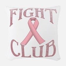 Fight Club with Pink Ribbon Woven Throw Pillow