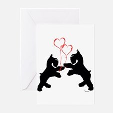 giant schnauzer hearts love i Greeting Cards (Pack