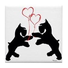 giant schnauzer hearts love i Tile Coaster