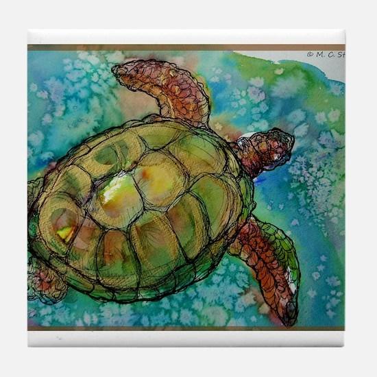 Sea turtle! Wildlife art! Tile Coaster