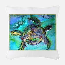 Sea Turtle, Wildlife art! Woven Throw Pillow