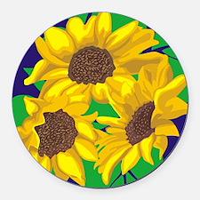 Sunny Days Sunflowers Round Car Magnet