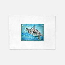 Sea Turtle! Wildlife art! 5'x7'Area Rug