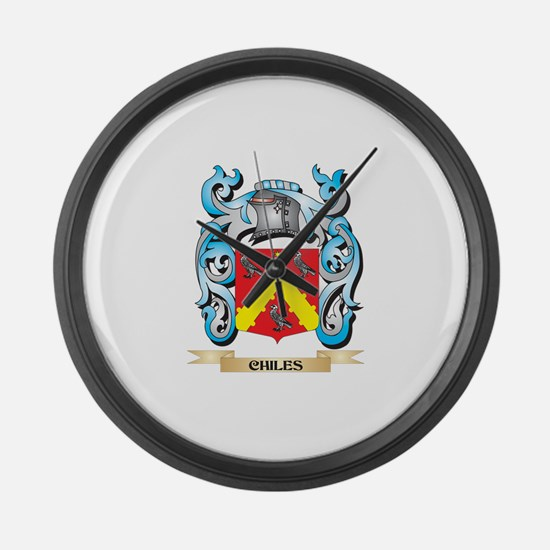 Chiles Coat of Arms - Family Cres Large Wall Clock
