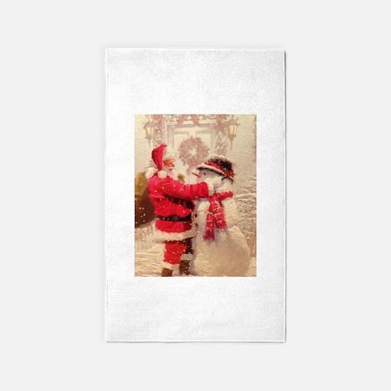 Santa and Snowman Area Rug