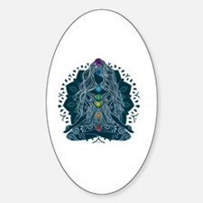 Yoga Girl Pose Blue Sticker (Oval)