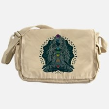 Yoga Girl Pose Blue Messenger Bag