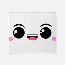 Happy Kawaii Face Throw Blanket