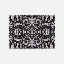 Paris vintage black lace 5'x7'Area Rug
