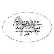 Man in my Life Natural Ears Oval Decal
