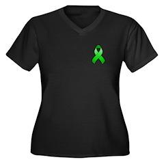 Green Awareness Ribbon Women's Plus Size V-Neck Da