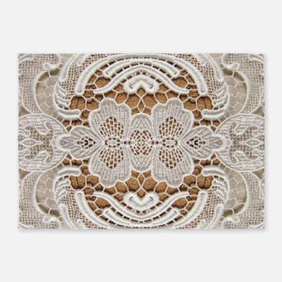 girly hipster vintage white lace 5'x7'Area Rug