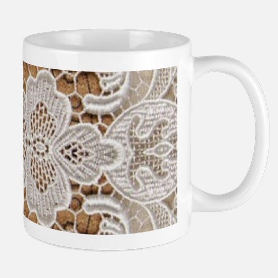 girly hipster vintage white lace Mugs