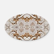 girly hipster vintage white lace Oval Car Magnet