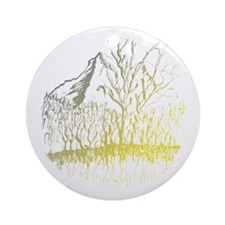 Radiant Mountain Valley Trrees Round Ornament