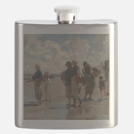 Fishing for Oysters at Cancale - John Sargen Flask