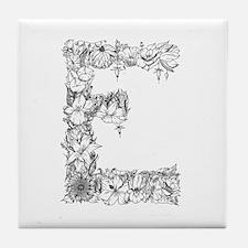 Floral Letter E Tile Coaster