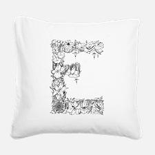 Floral Letter E Square Canvas Pillow