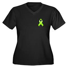 Lime Awareness Ribbon Women's Plus Size V-Neck Dar