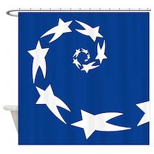 star spiral white dk blue Shower Curtain