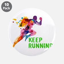 """Keep Running 3.5"""" Button (10 pack)"""
