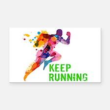 Keep Running Rectangle Car Magnet