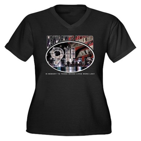 Remembering 9/11 Women's Plus Size V-Neck Dark T-S