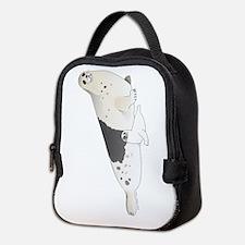Mom and Baby Harp Seals Neoprene Lunch Bag