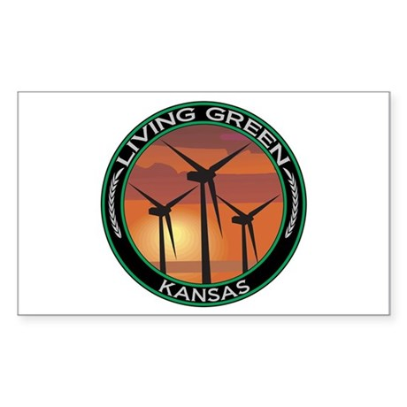 Living Green Kansas Wind Power Sticker (Rectangula