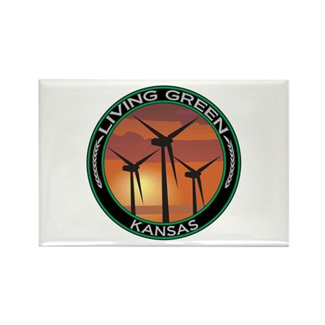 Living Green Kansas Wind Power Rectangle Magnet