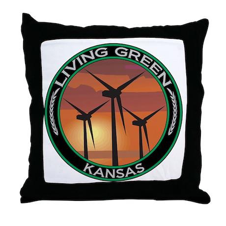 Living Green Kansas Wind Power Throw Pillow