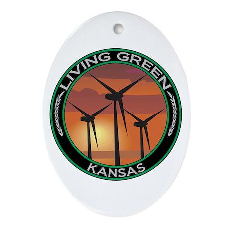 Living Green Kansas Wind Power Oval Ornament