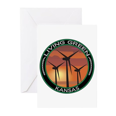 Living Green Kansas Wind Power Greeting Cards (Pk