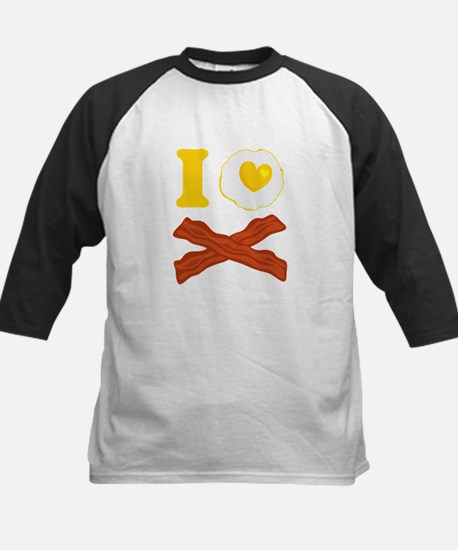 I Love Bacon And Eggs Kids Baseball Jersey