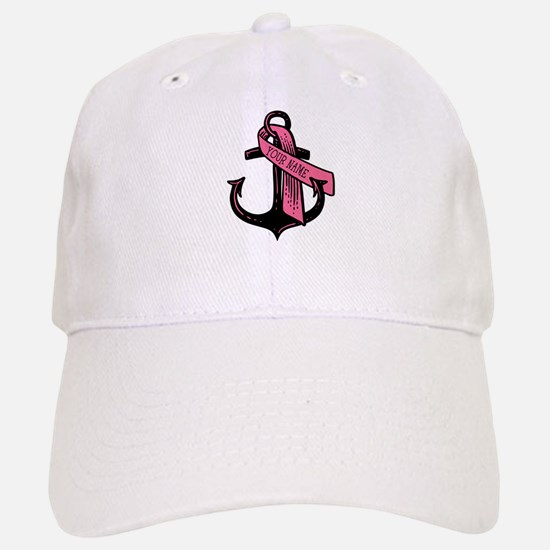 PERSONALIZED Pink Ribbon Anchor Baseball Baseball Baseball Cap